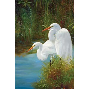 Summer Egrets II by P.Charles Painting Print on Wrapped Canvas by Portfolio Canvas Decor