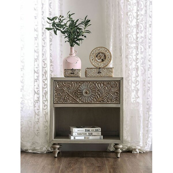 Wauwatosa Resin Floral Design 1 Drawer Nightstand by Ophelia & Co.