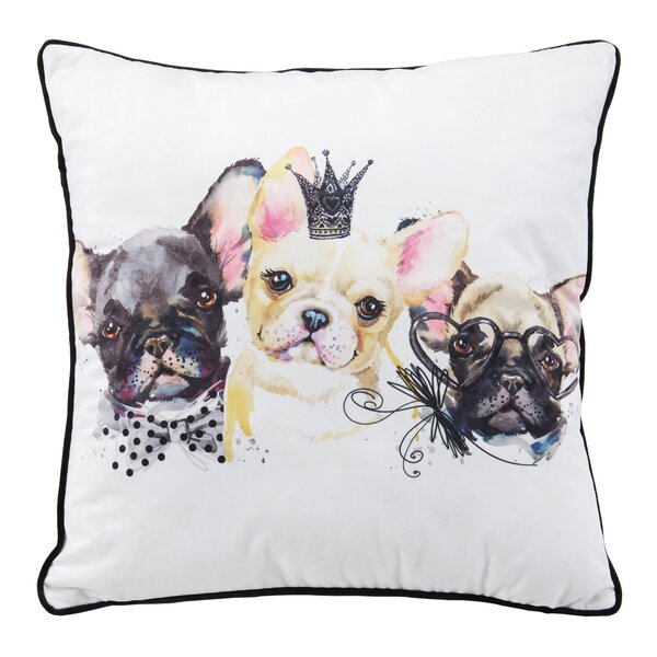 3 Pups Throw Pillow by Nicole Miller