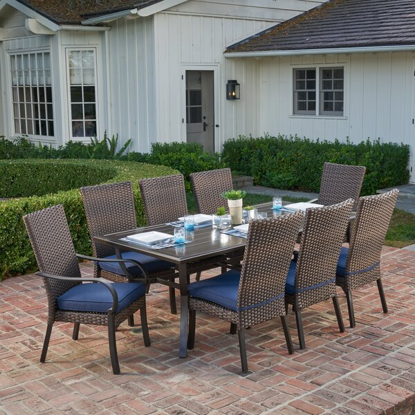Millicent 9 Piece Dining Set with Cushions by Longshore Tides