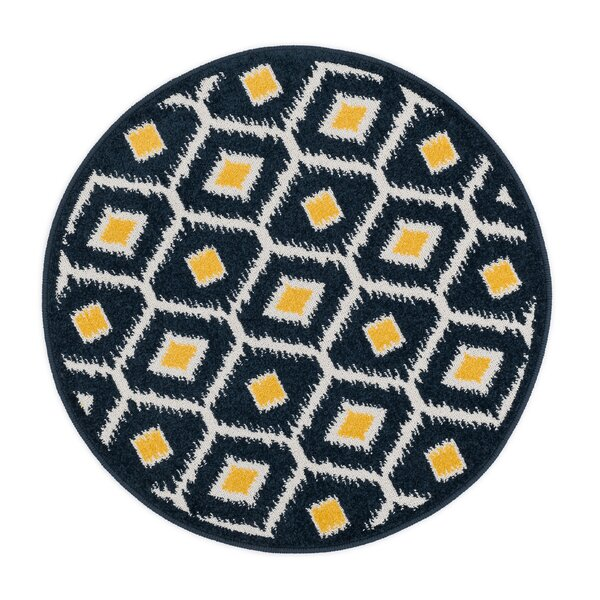 Laudenslager Navy/Lemon Area Rug by Ebern Designs