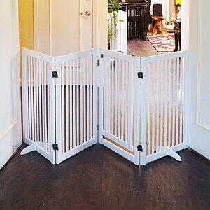 Wood Freestanding Pet Gate with Small Door