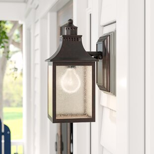 Price Check Kennett 1-Light Outdoor Glass Shade Wall lantern By Laurel Foundry Modern Farmhouse