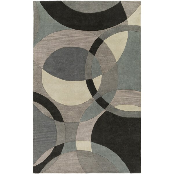 Dewald Hand-Tufted Neutral/Blue Area Rug by Ebern Designs