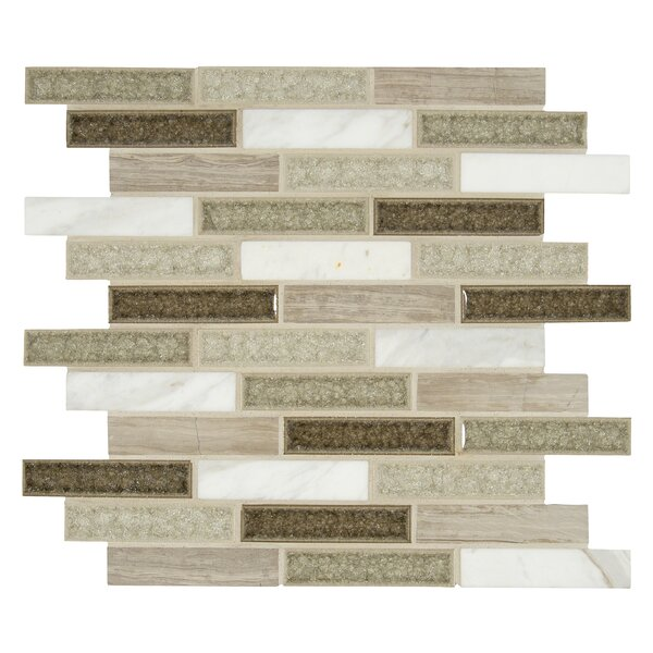Crystal Cliffs 1 x 4 Glass/Stone Mosaic Tile in Gray by MSI