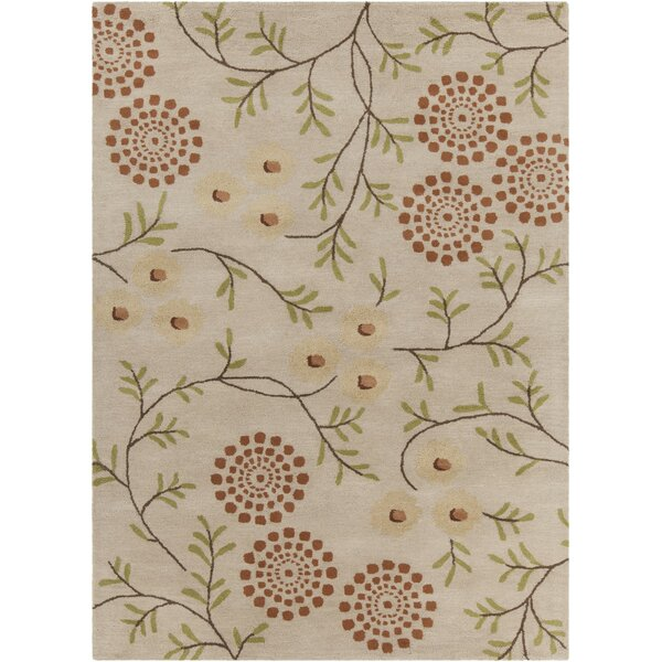 Boise Hand Tufted Rectangle Contemporary Cream/Orange Area Rug by Darby Home Co