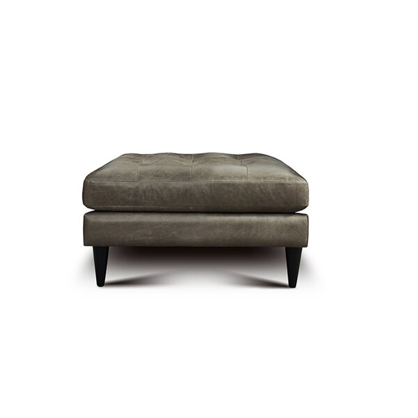 Whittemore Leather Tufted Ottoman by Foundry Select Foundry Select
