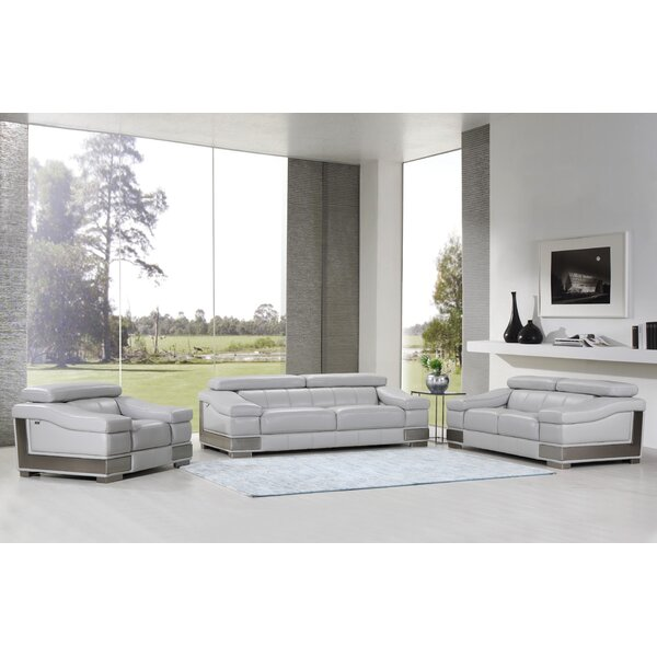 Hawkesbury Common 3-Piece Leather Living Room Set by Orren Ellis