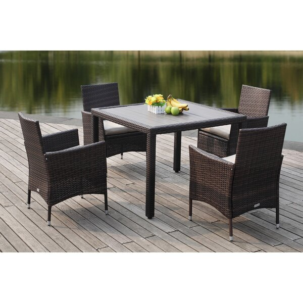 Thorntown 5 Piece Dining Set with Cushions by Breakwater Bay