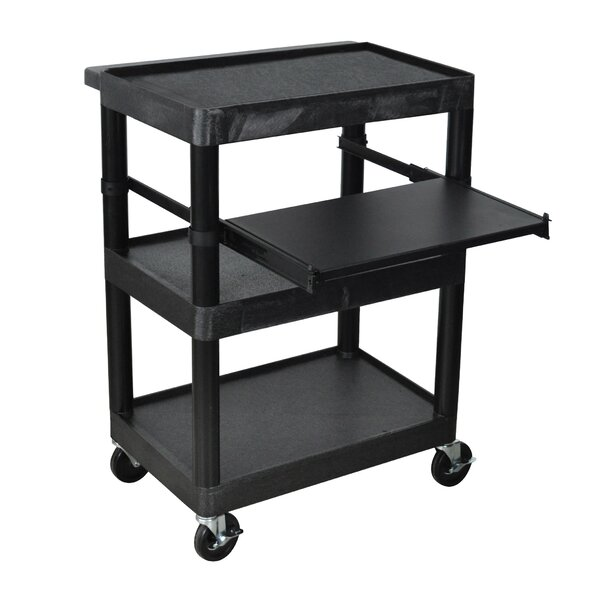 Sit Down AV Cart with Middle Shelf by Luxor