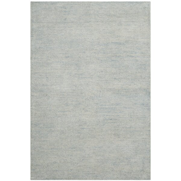 McArthur Hand-Knotted Plain Gray Area Rug by Rosecliff Heights