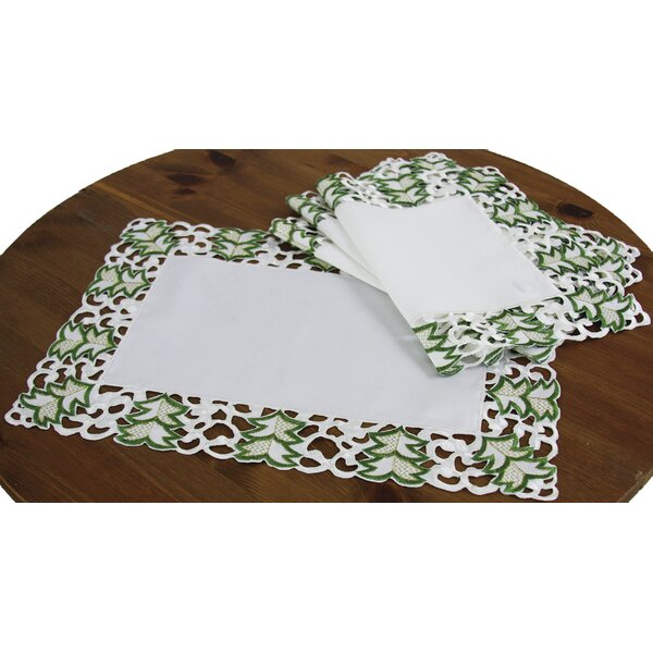 Tannenbaum Embroidered Cutwork Holiday Placemat (Set of 4) by Xia Home Fashions