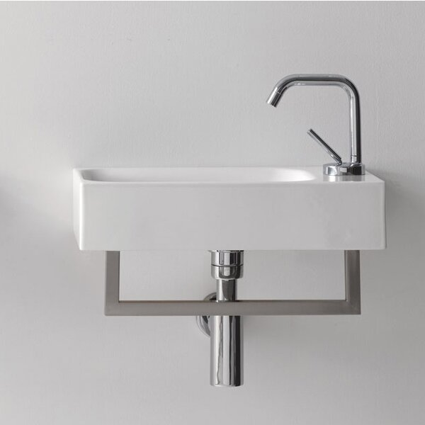 Cento Ceramic 18 Wall Mount Bathroom Sink with Overflow by WS Bath Collections
