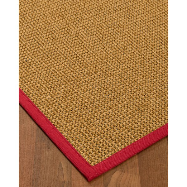 Atia Border Hand-Woven Beige/Red Area Rug by Bayou Breeze