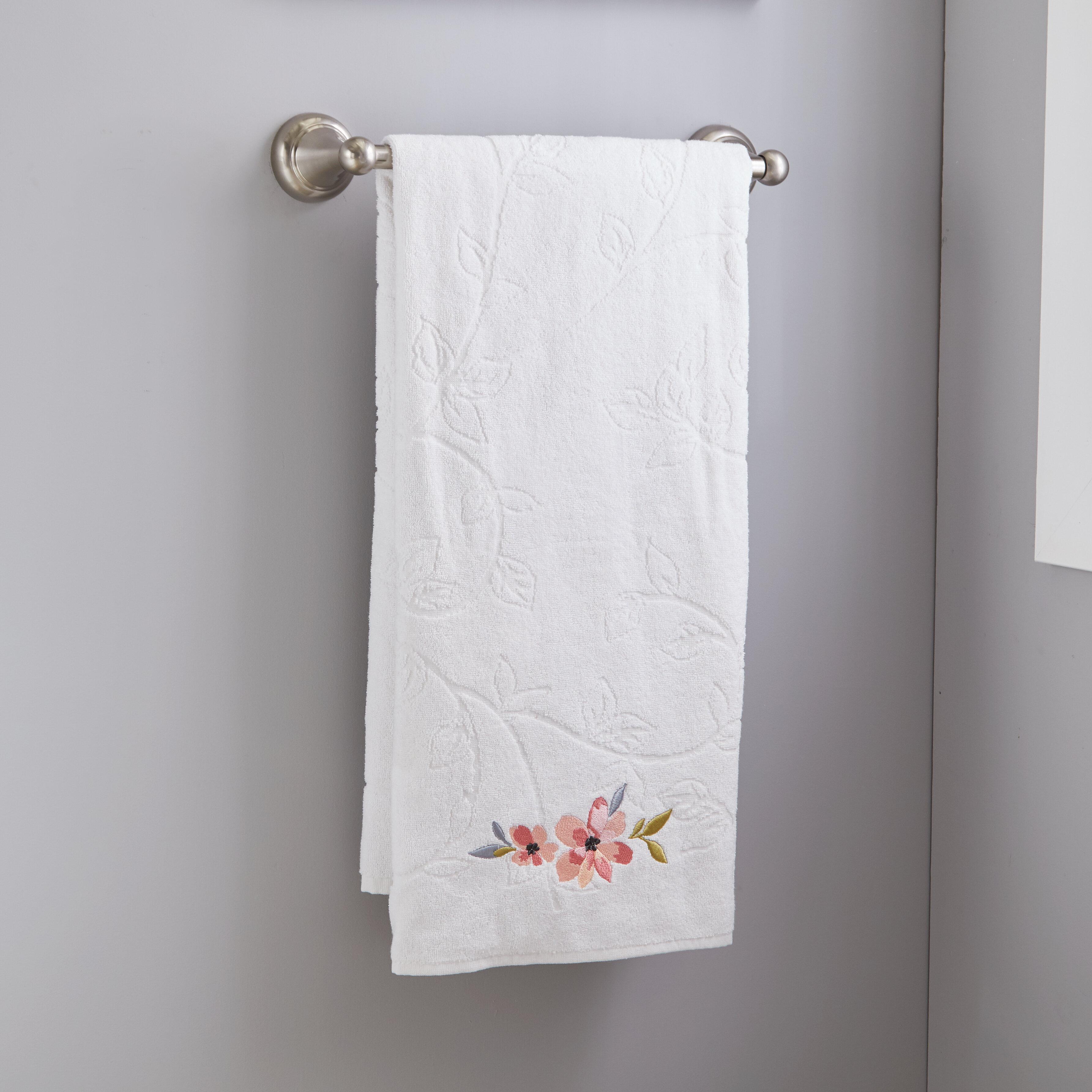 BATH TUB TIME TWEETS EMBROIDERED SET 2 BATHROOM HAND TOWEL by laura