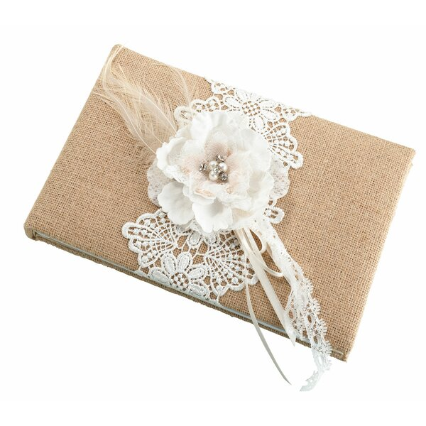 Rustic Burlap and Lace Guest Book by Lillian Rose