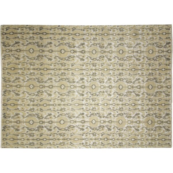 One-of-a-Kind Fine Ikat Marouane Hand-Knotted Beige Area Rug by Noori Rug