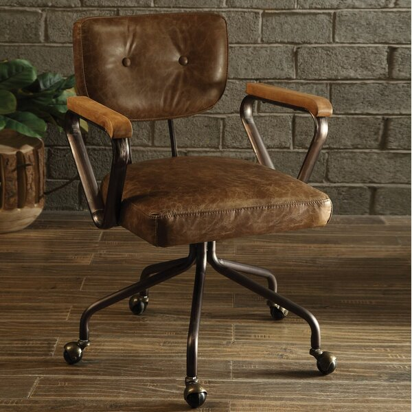 Lipton Genuine Leather Office Chair by 17 Stories