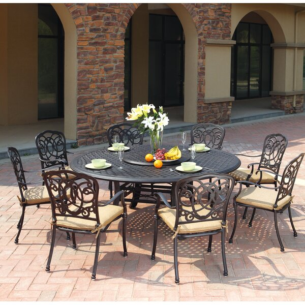 Battista Traditional 10 Piece Dining Set with Cushions by Fleur De Lis Living