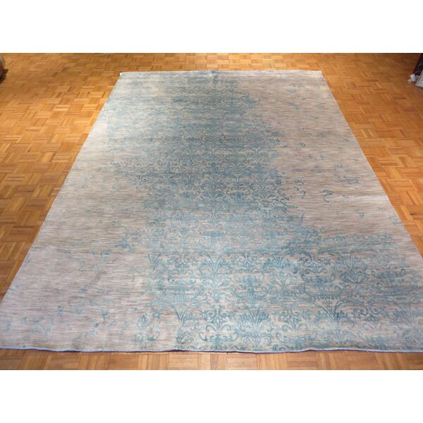 One-of-a-Kind Pellegrino Modern Hand-Knotted Wool Gray/Sky Blue Area Rug by Bloomsbury Market