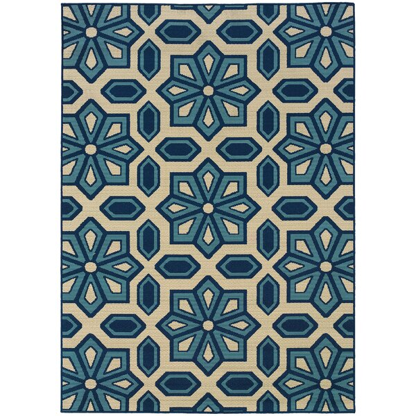 Barboza Ivory/Blue Indoor/Outdoor Area Rug By Charlton Home