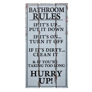 Fun Addition Wooden Bathroom Rules Wall Décor