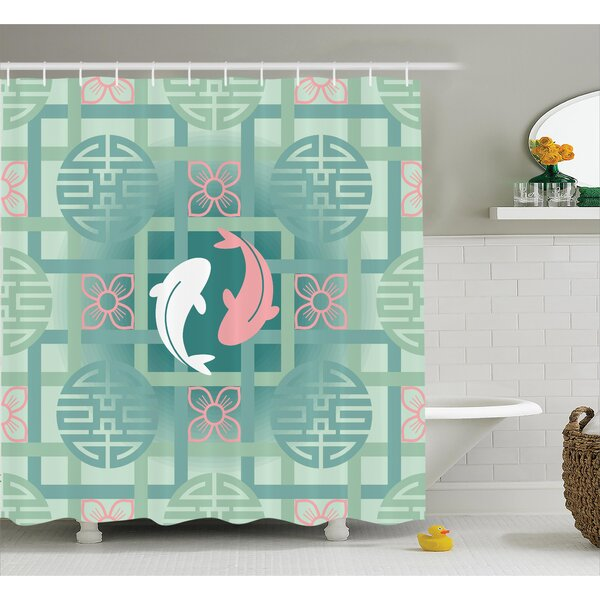 Olympic Japanese Dolphin Couple on Geometrical Featured Round and Squared Figure Culture Work Shower Curtain by World Menagerie