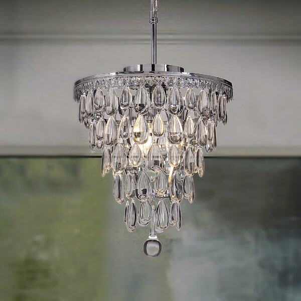 Wyndham 3 - Light Unique / Statement Tiered Chandelier With Wrought Iron Accents By House Of Hampton