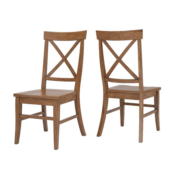 Fortville X-back Solid Wood Dining Chair (Set of 2) by Three Posts