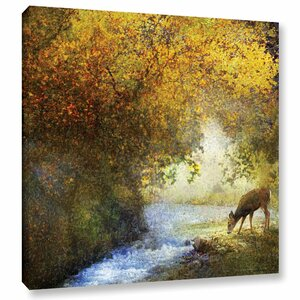 Deer By a Woodland Brook Painting Print on Wrapped Canvas by Loon Peak