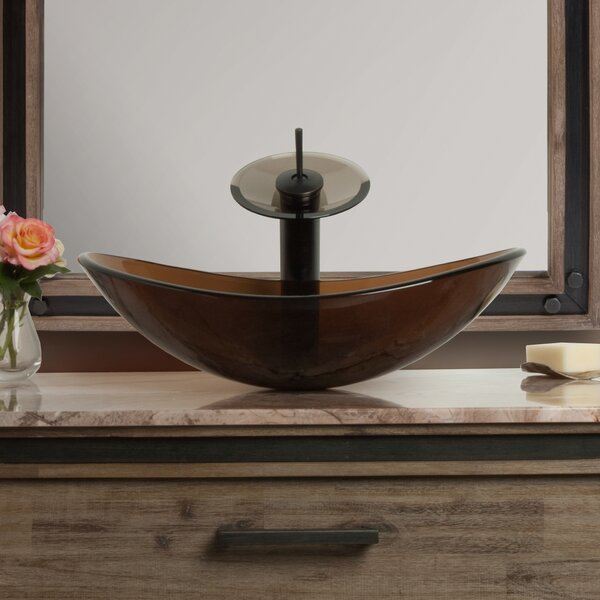 Babbuccia Glass Oval Vessel Bathroom Sink with Faucet by Novatto