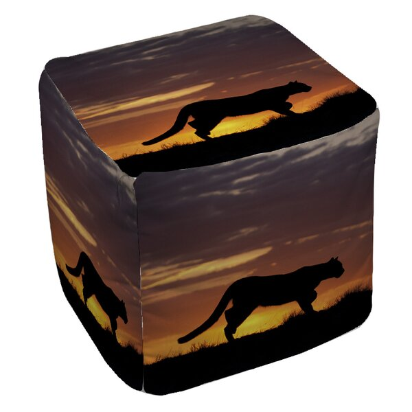 Cougar Silhouette Pouf by Manual Woodworkers & Weavers