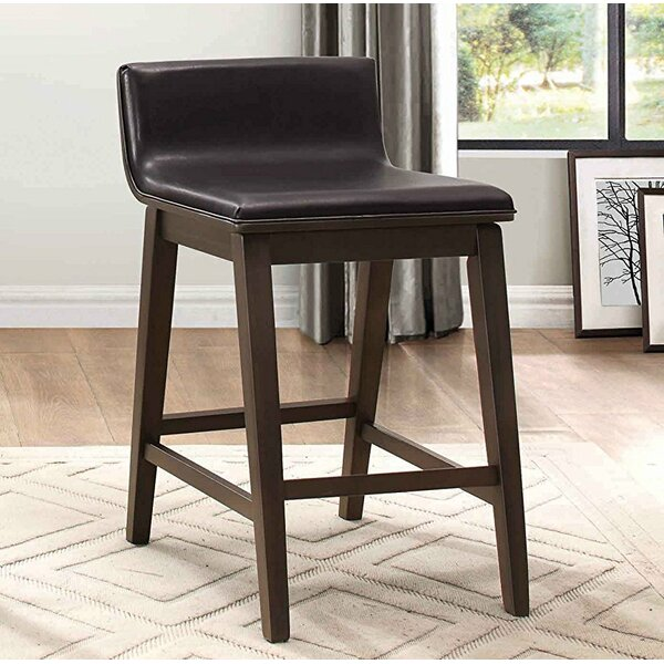 Daphne Wood/Leather Bar Stool (Set of 2) by Foundry Select