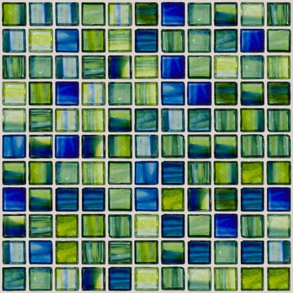 Signature Line 1 x 1 Glass Mosaic Tile in Green/Blue by Susan Jablon