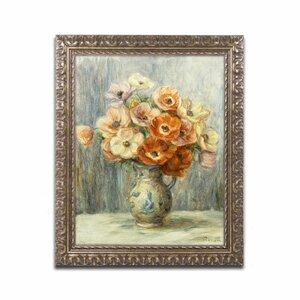 Vase d'Anemones by Pierre-Auguste Renoir Framed Painting Print by Trademark Fine Art