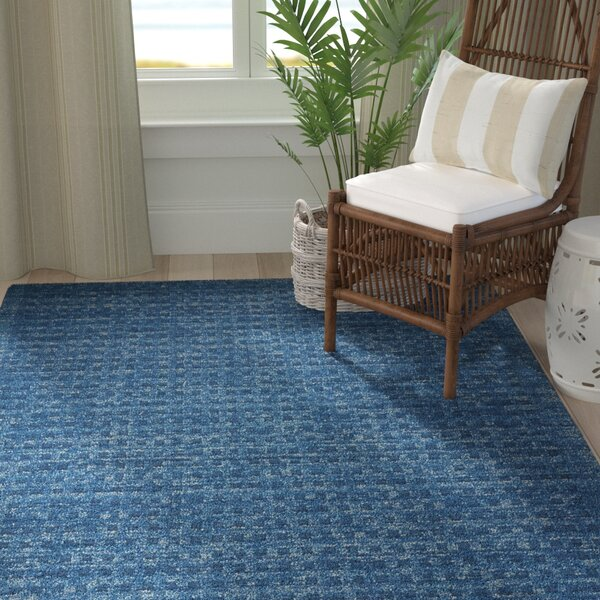 Dove Solid Hand-Woven Wool Navy Blue Area Rug by Highland Dunes