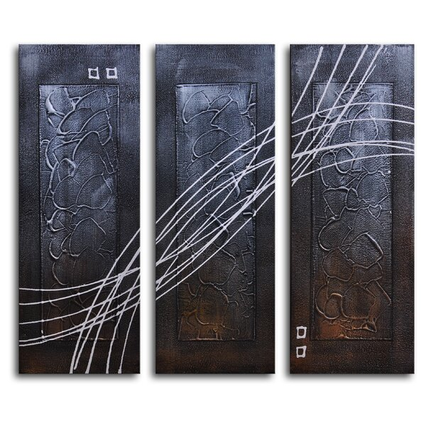 Strings Across Panels 3 Piece Painting on Canvas Set by My Art Outlet