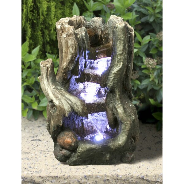 Resin Woodland Tabletop Waterfall Fountain with LED Light by Zenvida