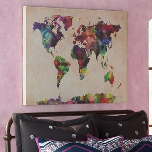 urban watercolor world map framed on beige canvas