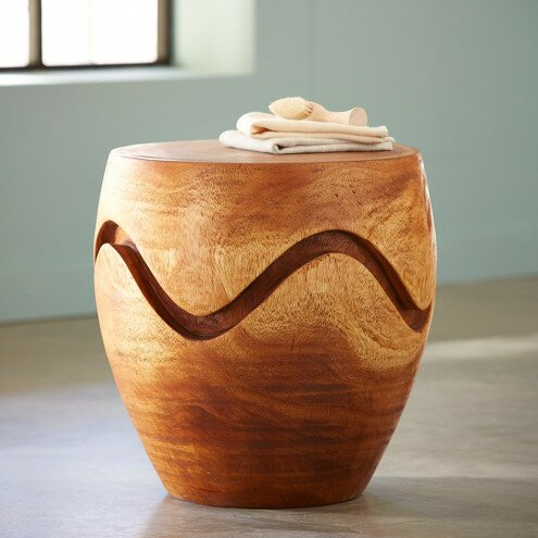 Altona Handcarved Wooden Wave Garden Stool by Foundry Select