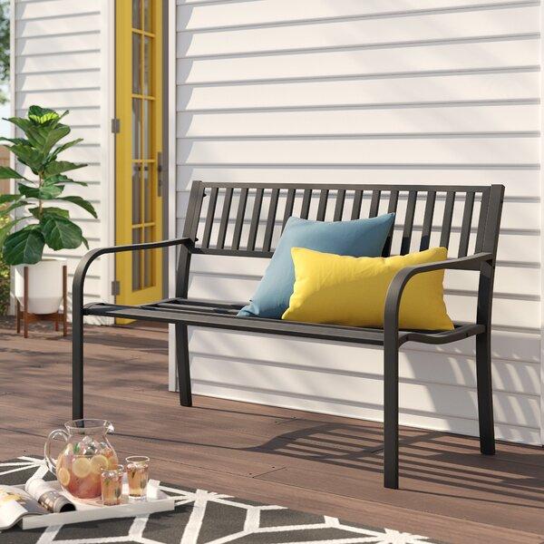 Alvah Slatted Cast Iron and Tubular Steel Garden Bench by Zipcode Design