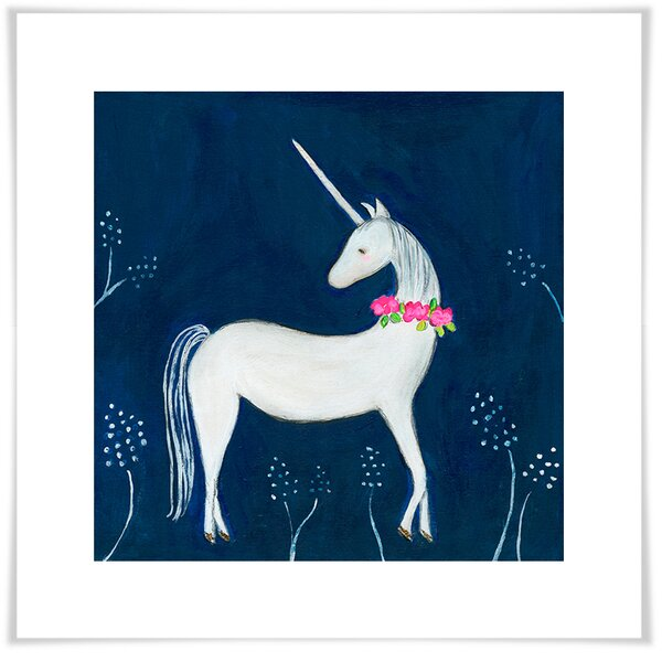 Amit Enchanted Unicorn Paper Print by Harriet Bee