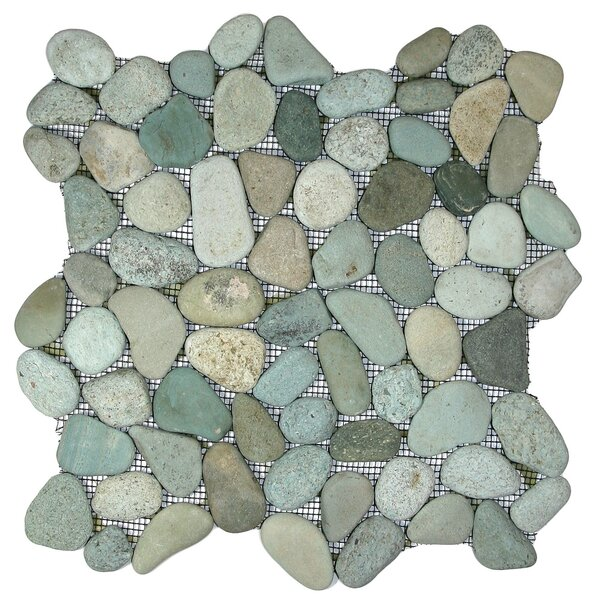 Danube Random Sized Natural Stone Mosaic Tile in Sea Green by CNK Tile