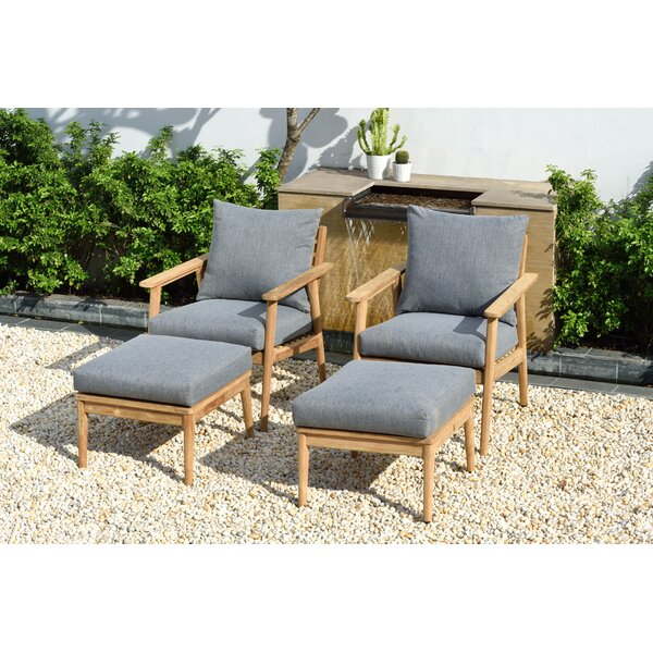 Darrah 4 Piece Teak Multiple Chairs Seating Group with Cushions by Brayden Studio