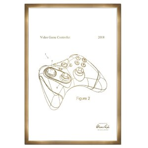 'Video Game Controller 2008' Framed Drawing Print in Gold by Williston Forge