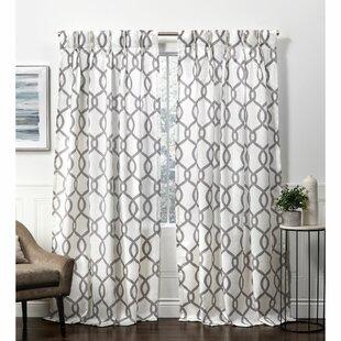 Premium Textured Weave White Gold Metallic Geometric Link Curtains Drapes Set