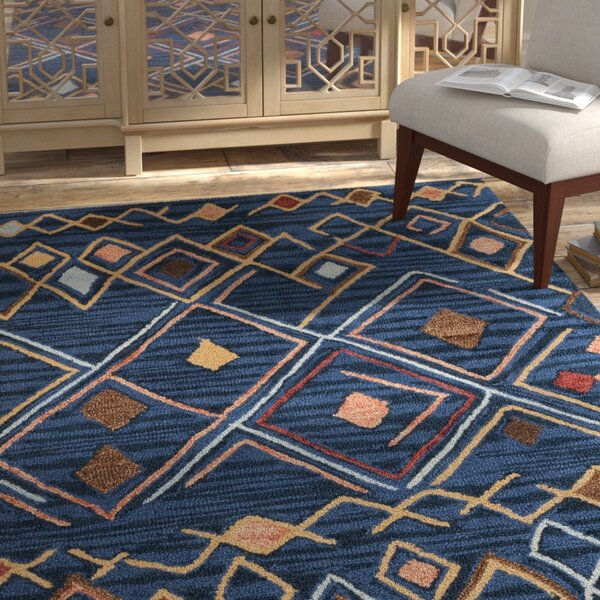 Talmo Hand Hooked Wool Blue/Yellow Area Rug by Bungalow Rose