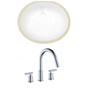 Best Deals Ceramic Oval Undermount Bathroom Sink with Faucet and Overflow ByAmerican Imaginations