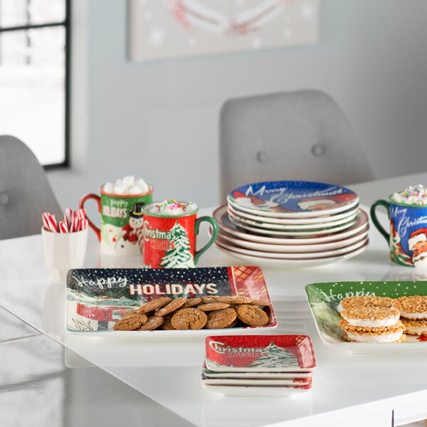 Retro Christmas 11 Dinner Plate 4 Piece Set By The Holiday Aisle.
