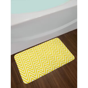 Thin Yellow White Yellow Chevron Bath Rug